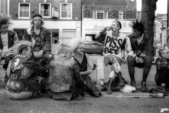 Punks hanging out on the Kings Road, London 1983